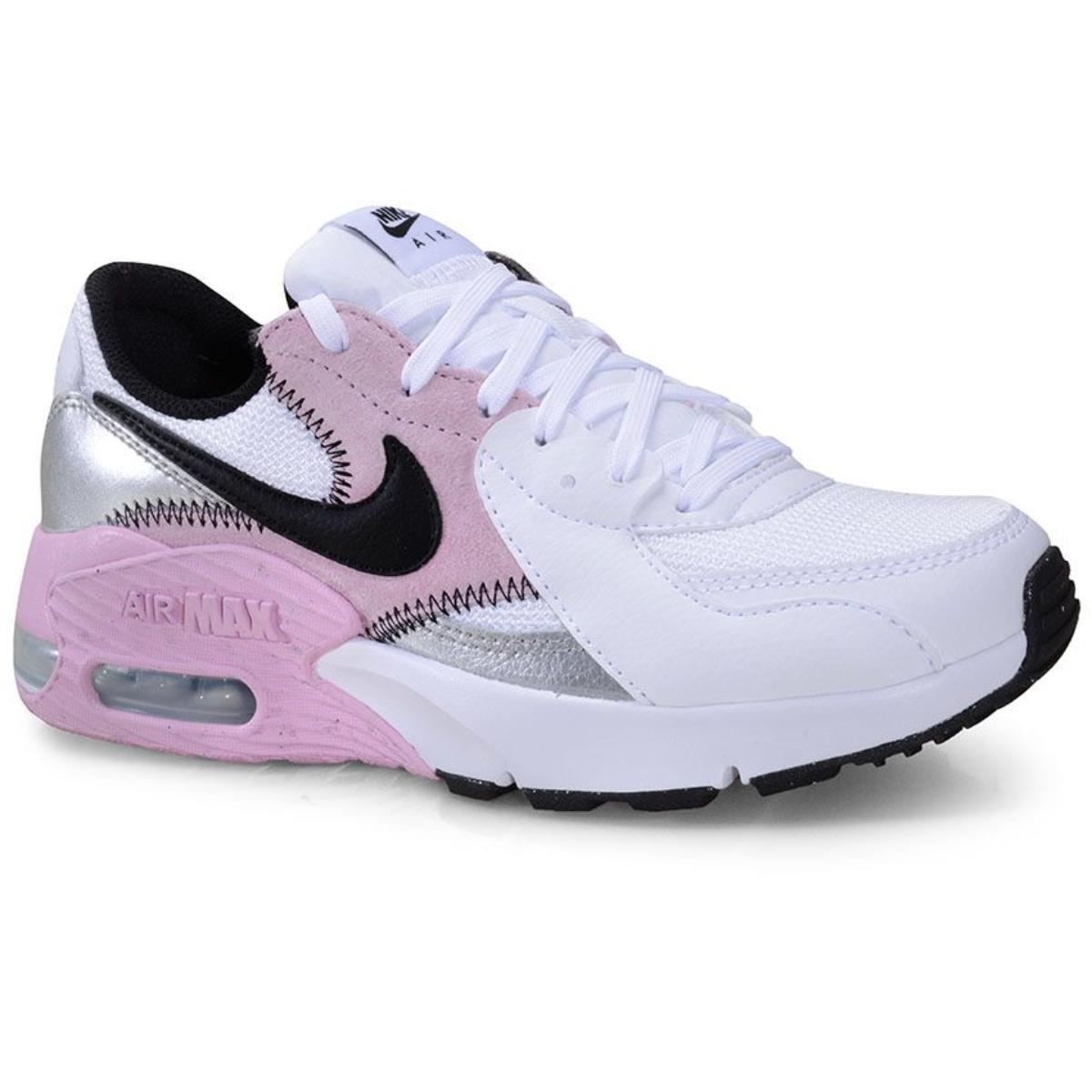 Tênis Feminino Nike Cd5432-109 Air Max Excee Branco/rosa/preto