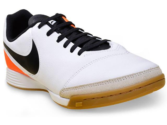 Tênis Masculino Nike 819215-108 Tiempo Genio ii Leather ic  Branco/preto/laranja