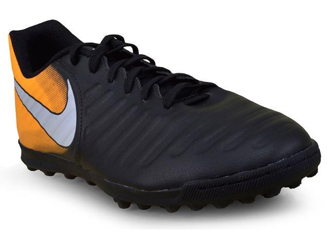 Tênis Masculino Nike 897770-008 Tiempox Rio iv tf Preto/laranja