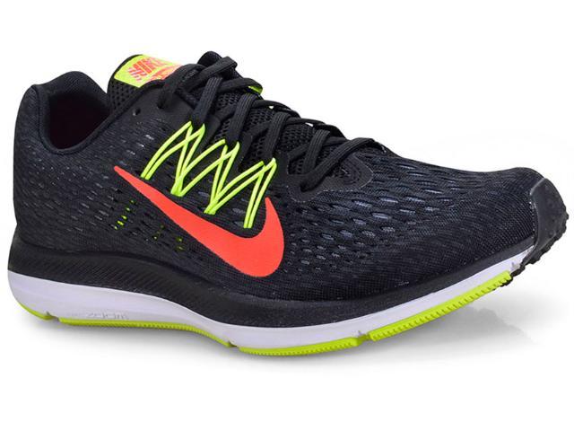 Tênis Masculino Nike Aa7406-004 Zoom Winflo 5 Preto/limão/vermelho