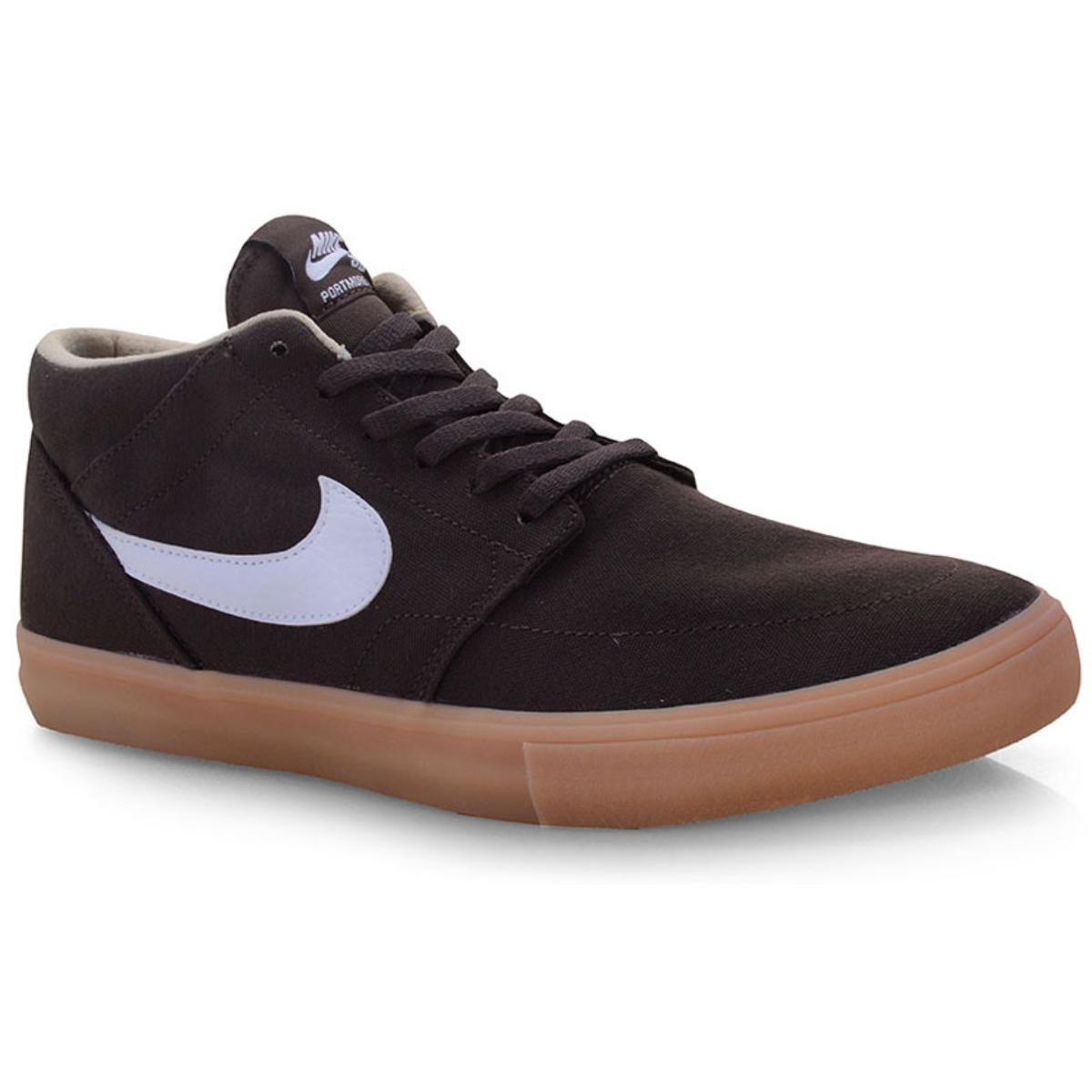 Tênis Masculino Nike Aq7728-200 sb Portmore ii Slr m Cnvs Marrom/branco