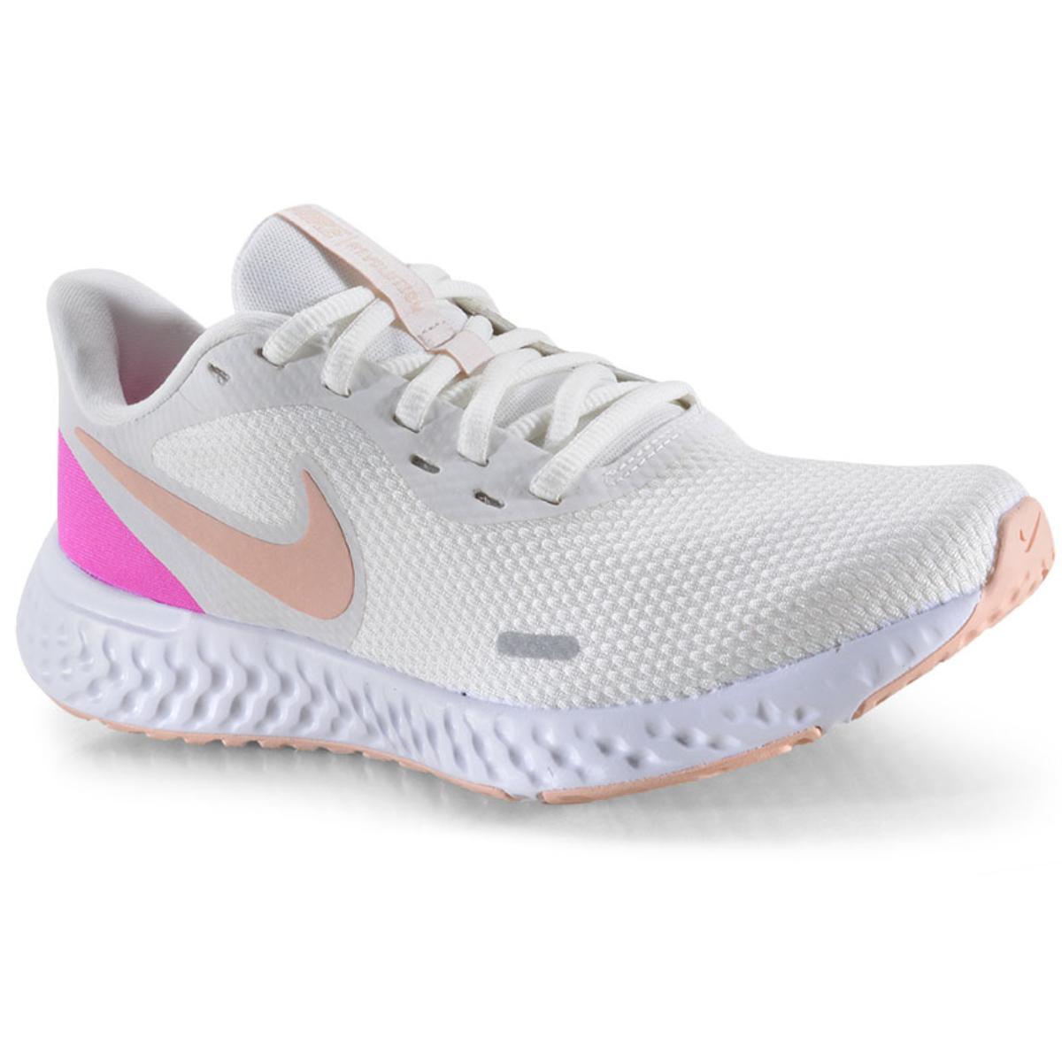Tênis Feminino Nike Bq3207-103 Revolution 5 Branco/pink