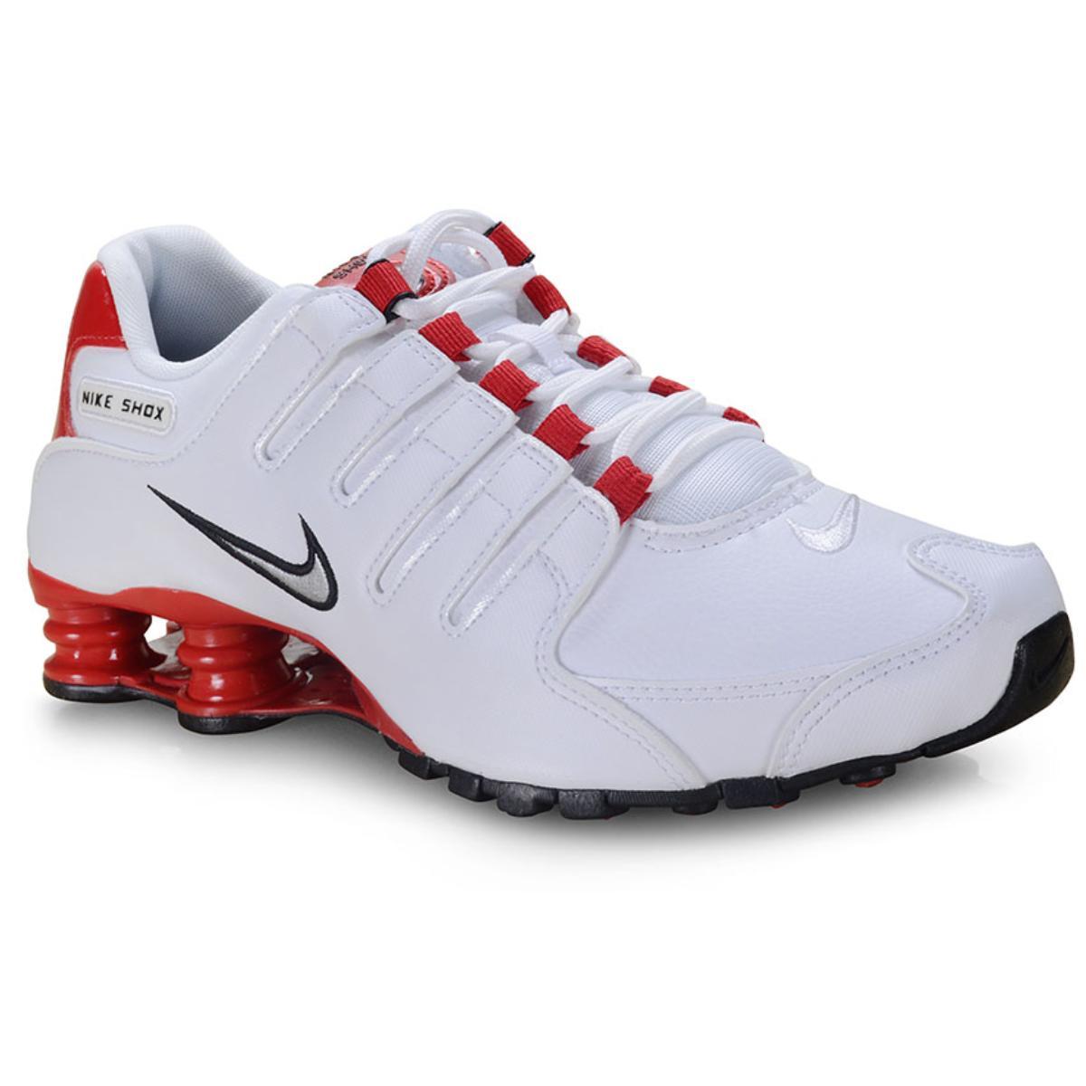 Tênis Masculino Nike 378341-110 Shox nz Branco/vermelho