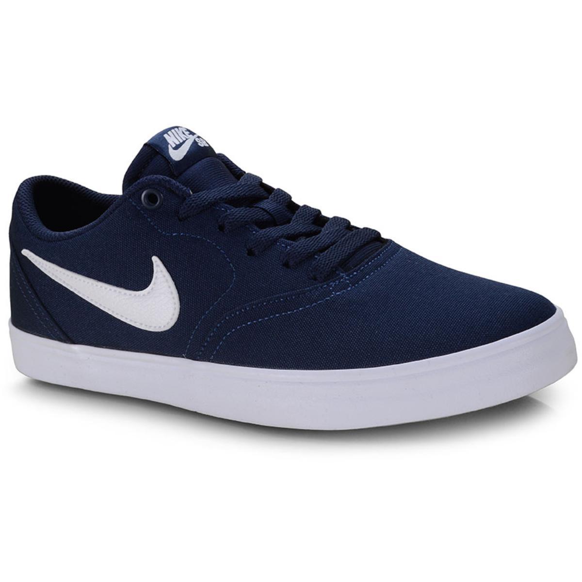 Tênis Masculino Nike 843896-404 sb Check Solar Cnvs Marinho/branco