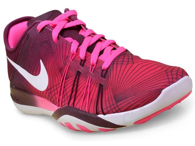 Tênis Feminino Nike 833424-600 Wmns Free tr 6 Prt Vinho/rosa