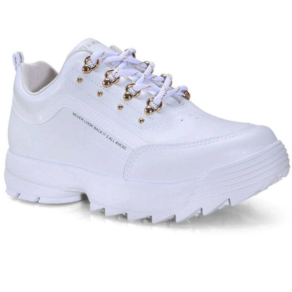 Tênis Feminino Ramarim 21-75101 Branco/ouro