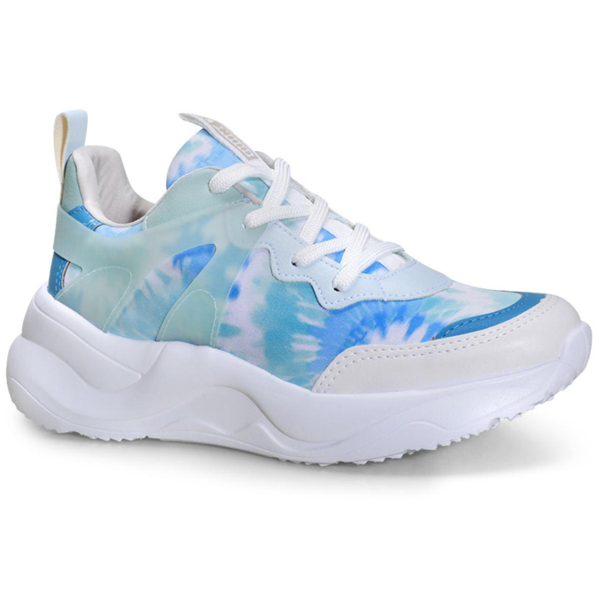 Tênis Feminino Via Marte 20-14907 Tie Dye Chantilly /acqua