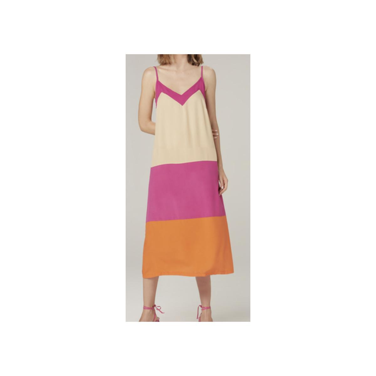 Vestido Feminino Dzarm Zaty 1aen  Bege/roxo/laranja
