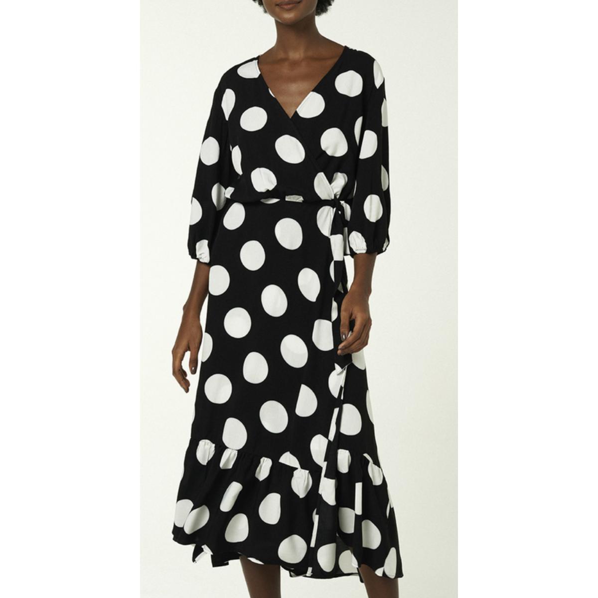Vestido Feminino Hering Ha63 1ben Preto/branco Poa