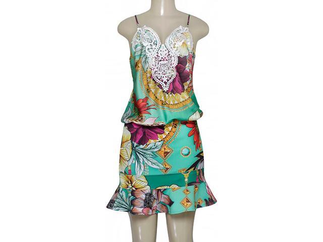 Vestido Feminino Moikana 160132 Verde Floral