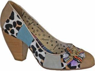 Sapato Feminino Tanara 9322 Bege/cinza - Tamanho Médio