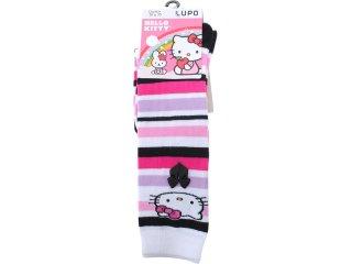 Meia Fem Infantil Lupo 2418 Hello Kitty Listrado Branco - Tamanho Médio