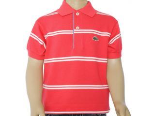 Camisa Polo Uni Infantil Lacoste Pj2936 Listrado Vermelho - Tamanho Médio