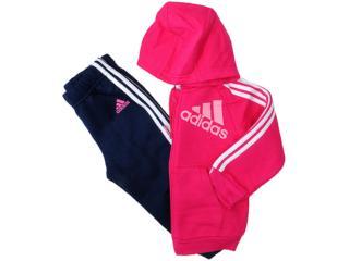 Abrigo Fem Infantil Adidas F49603 Hood 3s Pink/marinho - Tamanho Médio