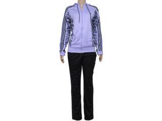 Abrigo Feminino Adidas S17703 Yong Knit Lilas/preto - Tamanho Médio