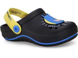 Babuche Masc Infantil Grendene 22507  24455 Liga da Justiça Preto/amarelo/azul - Tamanho Médio