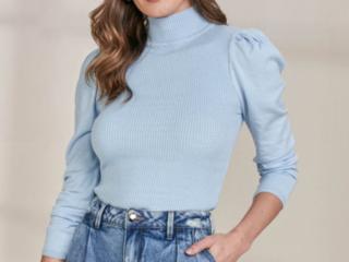 Blusa Feminina Lado Avesso L115757 Azul Claro - Tamanho Médio
