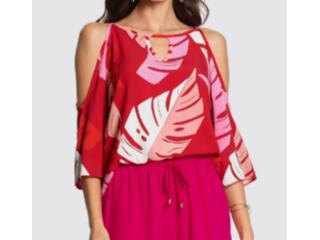 Blusa Feminina Lunender 46554 Vermelho Estampado - Tamanho Médio
