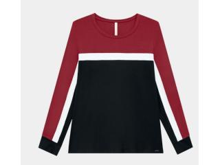 Blusa Feminina Lunender 60174 Vermelho/preto - Tamanho Médio