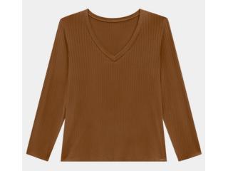 Blusa Feminina Lunender 00450 Marrom - Tamanho Médio