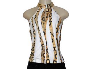 Blusa Feminina Morena Rosa 103995 Estampado Off White/ocre - Tamanho Médio