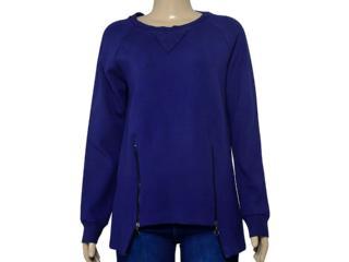 Blusão Feminino Borda Barroca 1001667 Azul - Tamanho Médio
