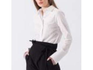 Camisa Feminina Borda Barroca 10011213 Branco - Tamanho Médio