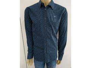 Camisa Masculina Colcci 310103500 Vc38 Preto/azul - Tamanho Médio