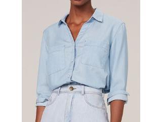 Camisa Feminina Dzarm Zike 1asn  Jeans - Tamanho Médio
