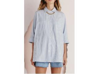 Camisa Feminina Dzarm Zinf 1cen Azul/branco - Tamanho Médio