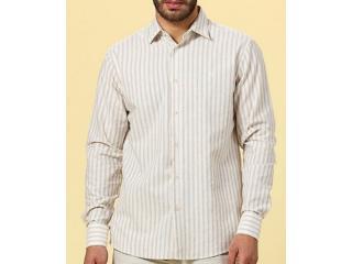 Camisa Masculina Forum 314603043 Vf369 Bege Listrado - Tamanho Médio