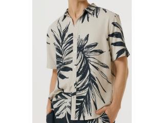 Camisa Masculina Hering Ktz1 1jsi Cru/marinho - Tamanho Médio