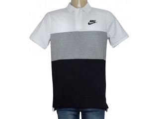 Camisa Masculina Nike 847646-100 Nsw Polo pq Branco/cinza/preto - Tamanho Médio