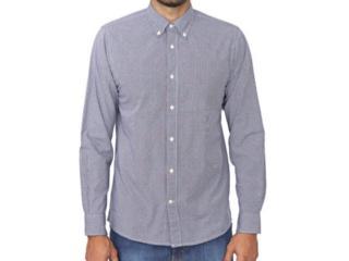 Camisa Masculina Tommy Thmw0mw13426 Branco/azul Xadrez - Tamanho Médio