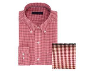 Camisa Masculina Tommy Th17fl737 Th641 Vermelho/branco - Tamanho Médio