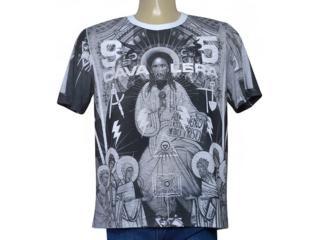 Camiseta Masculina Cavalera Clothing 01.01.9680 Branco Estampado - Tamanho Médio
