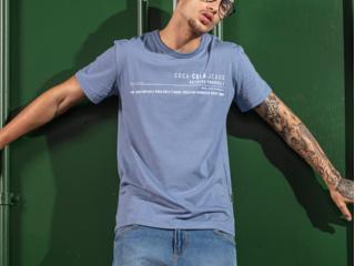 Camiseta Masculina Coca-cola Clothing 353207604 33865 Azul - Tamanho Médio