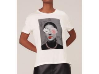 Camiseta Feminina Dzarm 6rzy Nmcen Off White - Tamanho Médio