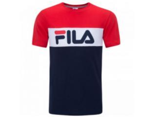 Camiseta Masculina Fila Ls180585 Letter Colors 188 Marinho/vermelho - Tamanho Médio