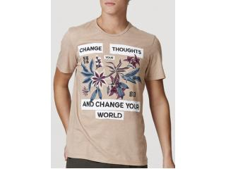 Camiseta Masculina Hering 4efc Hlden Bege Escuro - Tamanho Médio