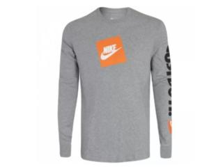 Camiseta Masculina Nike Bv1375-063 Nsw Tee ls Jdi Cinza/laranja - Tamanho Médio
