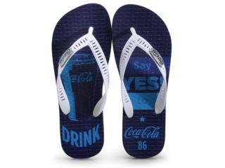 Chinelo Masculino Coca-cola Shoes Cc2881 Marinho/branco - Tamanho Médio