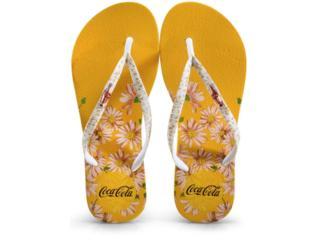 Chinelo Feminino Coca-cola Shoes Cc3110 Amarelo/branco - Tamanho Médio