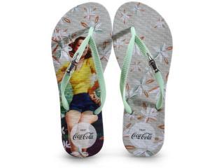 Chinelo Feminino Coca-cola Shoes Cc3141 Branco/menta - Tamanho Médio