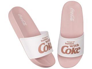 Chinelo Feminino Coca-cola Shoes Cc2958 Rose/branco - Tamanho Médio