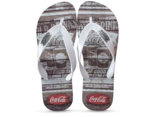 Chinelo Masculino Coca-cola Shoes Cc2680 Liso Branco - Tamanho Médio