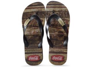 Chinelo Masculino Coca-cola Shoes Cc2680 Liso Preto - Tamanho Médio