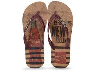 Chinelo Masculino Coca-cola Shoes Cc2856 Bege/bordo - Tamanho Médio