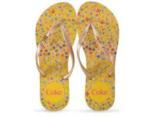Chinelo Feminino Coca-cola Shoes Cc2869 Amarelo/ouro - Tamanho Médio