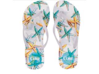Chinelo Feminino Coca-cola Shoes Cc2996 Branco Estampado - Tamanho Médio